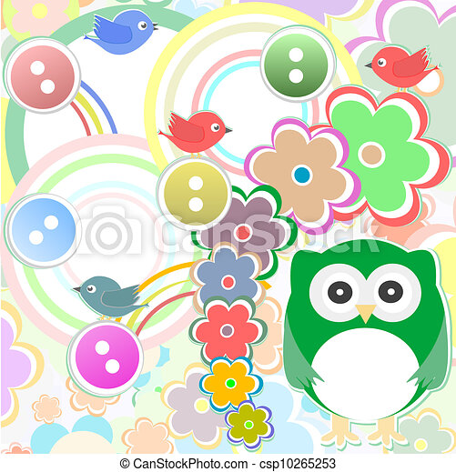 Template greeting card with owl bird and flowers, scrap - csp10265253