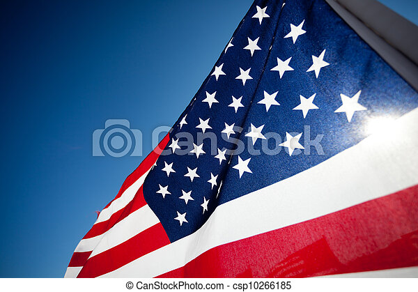 Amereican Flag display commemorating national holiday - csp10266185