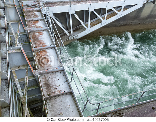 Hydro dam control weir with underneath discharge - csp10267005