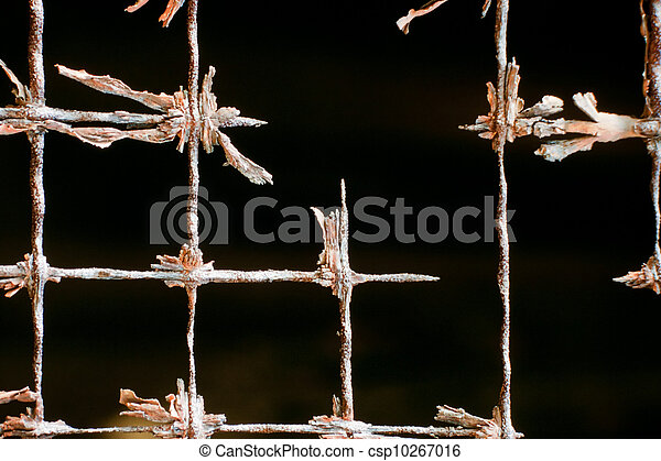 Old rusted out iron wire mesh abstract pattern - csp10267016
