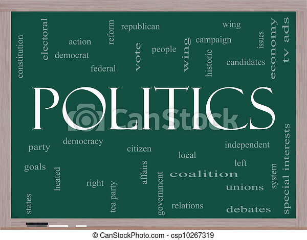 Politics Word Cloud Concept on a Blackboard - csp10267319