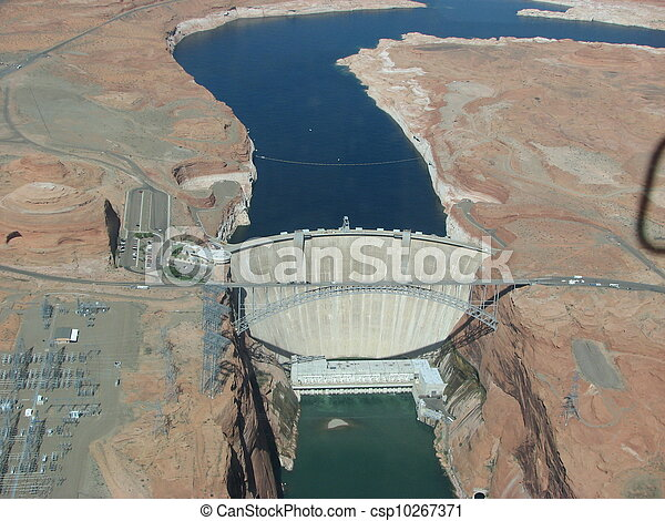 Aerial view of Hoover Dam and the Colorado River Bridge - csp10267371