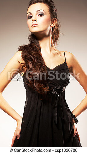 Young Woman with Long Hair  - csp1026786