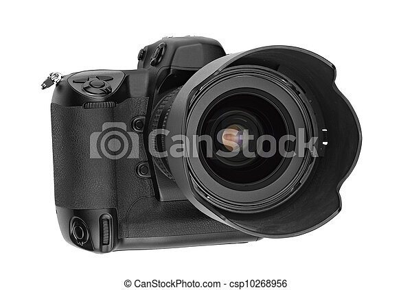 professional digital Lens Reflex- front view (clipping path) - csp10268956