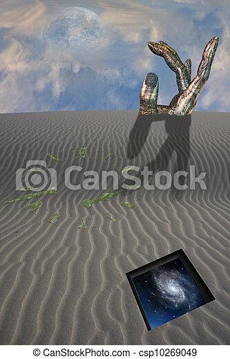 Buried sculpture of hand in desert with clock - csp10269049