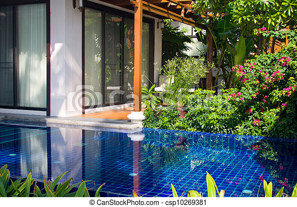 Swimming pool in house . Thailand .