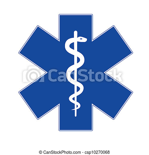 Emergency star blue on white background. - csp10270068