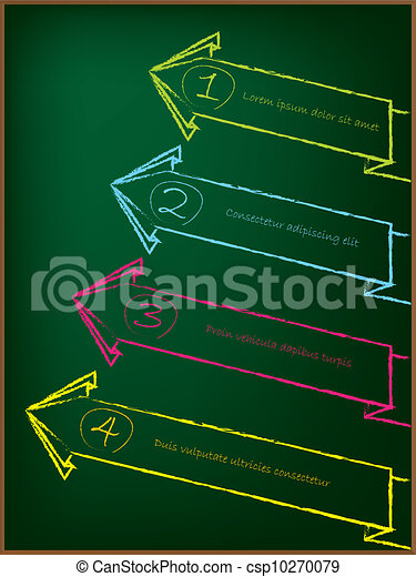 Advertising arrow label set on chalkboard - csp10270079