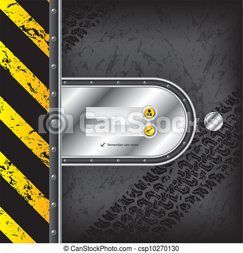 Industrial login interface with tire tracks - csp10270130