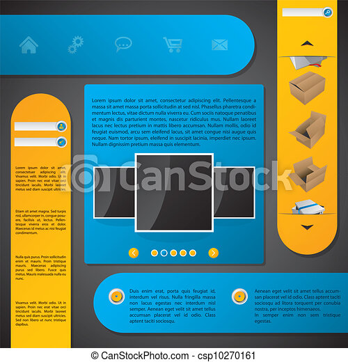 Website template design with labels - csp10270161