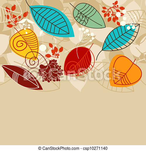Fall background with leaves in bright colors - csp10271140