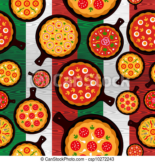 Italian pizza flavors pattern - csp10272243