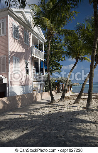 typical house home architecture beach key west florida - csp1027238