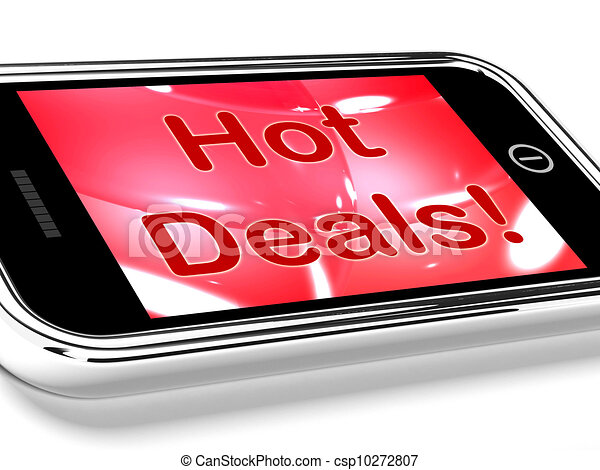 Hot Deals On Mobile Screen Represents Discounts Online - csp10272807