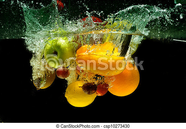 Fresh fruit Splash in Water