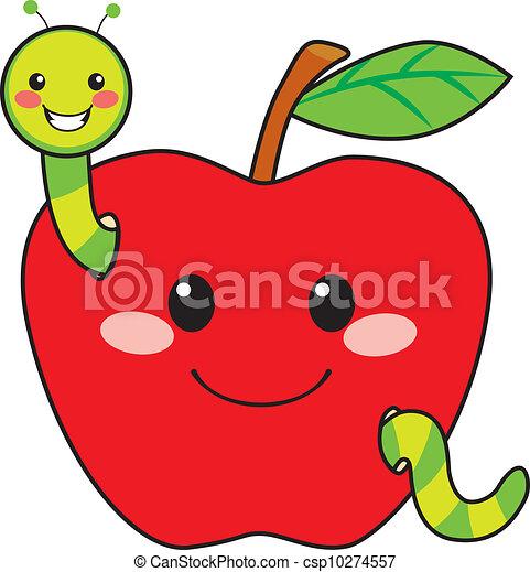 Vecteur Clipart de doux, pomme, ver - mignon, vert, ver ...