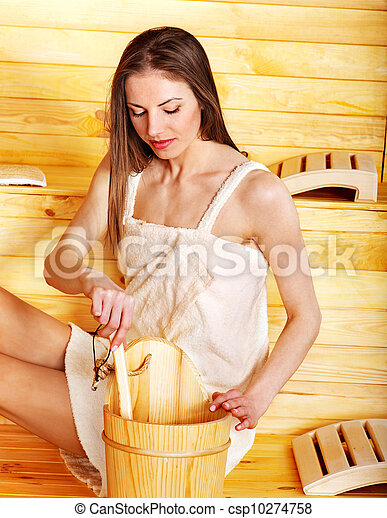 Girl in sauna. - csp10274758