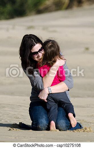 妈妈, 孩子, 拥抱, 抛弃