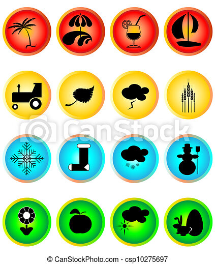 Four Seasons Icon Set - csp10275697