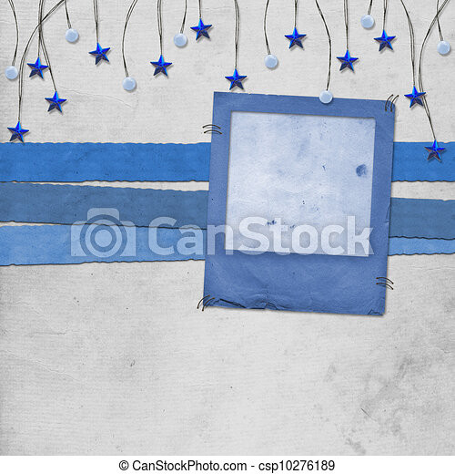 Grunge slide from grunge papers with beads and stars - csp10276189
