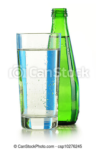 Glass bottle of mineral water isolated on white - csp10276245