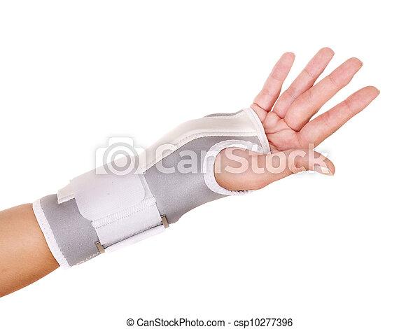 Trauma of wrist in brace. - csp10277396