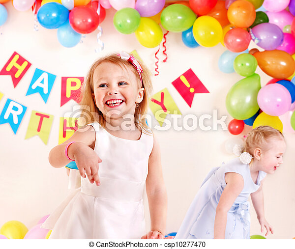 Child birthday party with girl. - csp10277470