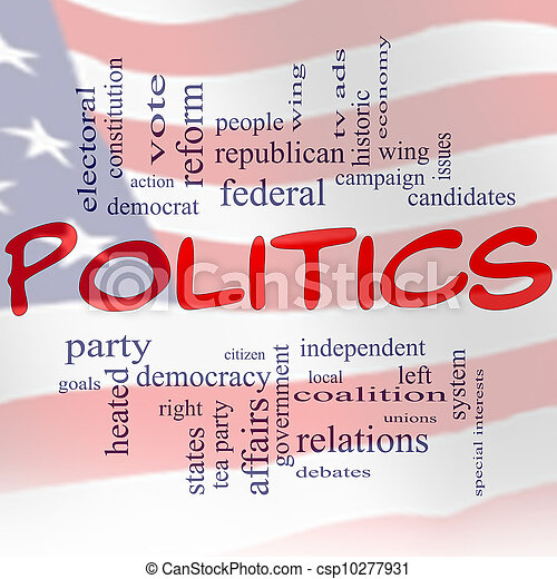 Politics Word Cloud Concept US Flag - csp10277931