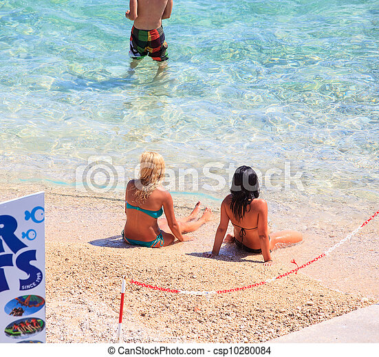 Girls in the Baska beach, Croatia - csp10280084