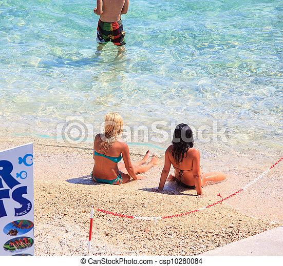 Girls in the Baska beach, Croatia - csp10280084