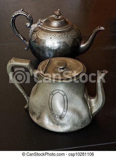 Antique pewter teapots - csp10281106