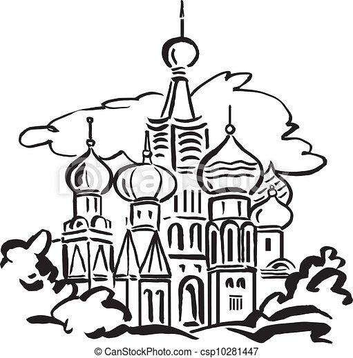 Russian Church Drawing Eps Vector of st Basils