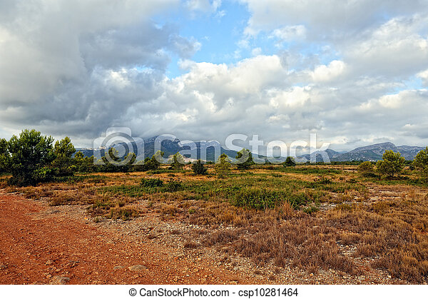 Suumer landscape with rural road in Spain. - csp10281464