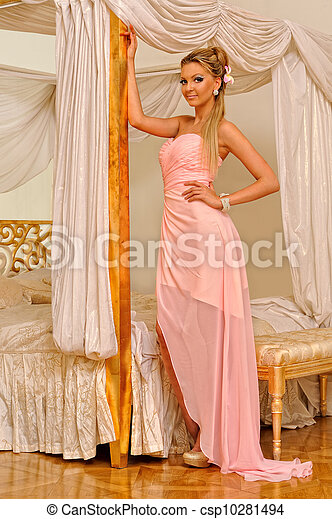 Beautiful woman in luxurious interior. - csp10281494