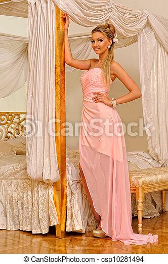 Beautiful woman in luxurious interior. - csp10281494