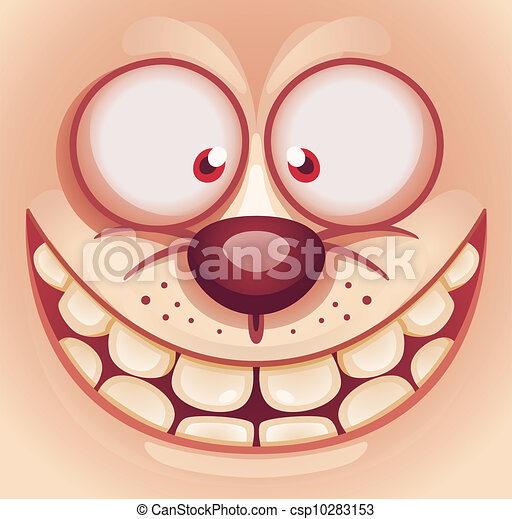 Clipart Vector of Laughing Cute Animal Face - Cartoon ...