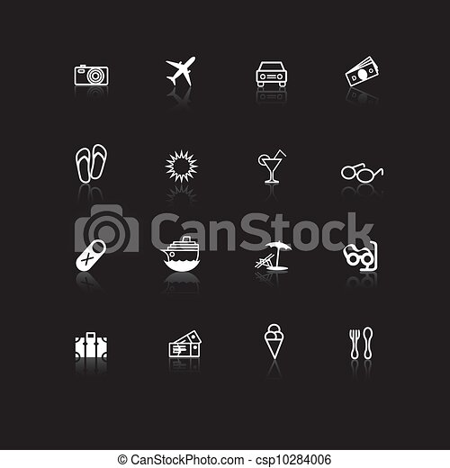 Travel icons white on black with re - csp10284006