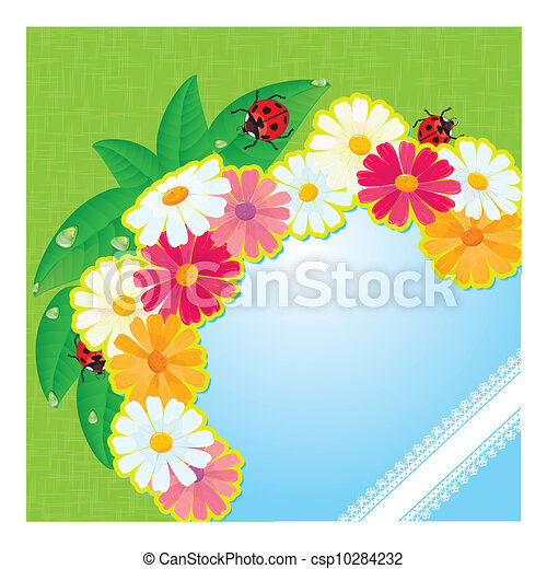 ladybirds and daisies - summer card - csp10284232