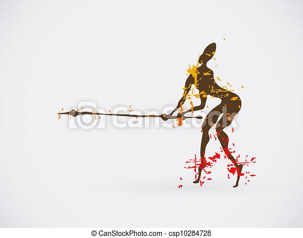 African Hunter Tribal Vector Illustration. Traditional Culture Creative Symbol. - csp10284728