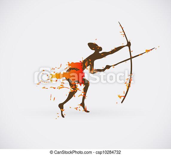 African Hunter Tribal Vector Illustration. Traditional Culture Creative Symbol. - csp10284732