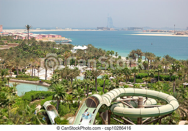 DUBAI, UAE - AUGUST 28: The Aquaventure waterpark of Atlantis the Palm hotel on August 28, 2009 in Dubai, UAE. It is located on a man-made island Palm Jumeirah. - csp10286416