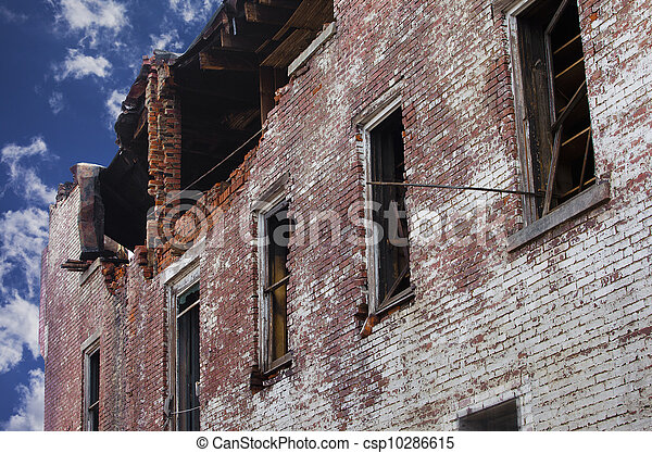 Fire Damaged Brick Building - csp10286615