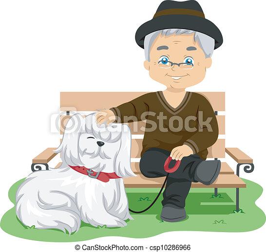 clip art vecteur de personne agee prendre chien promenade illustration csp10286966. Black Bedroom Furniture Sets. Home Design Ideas
