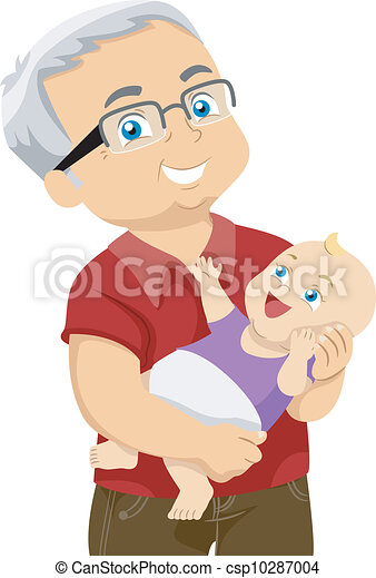 vector clipart of grandfather and grandchild