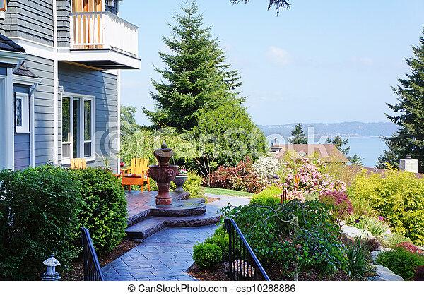azul, paisagem, bonito, chafariz, casa - csp10288886