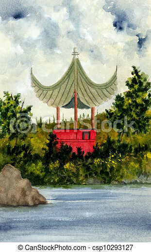 Clip Art Of Chinese Pagoda Watercolor Painting Of A