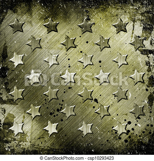 Military Grunge With Stars - csp10293423