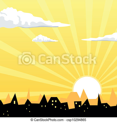 Vector Evening City - csp10294865