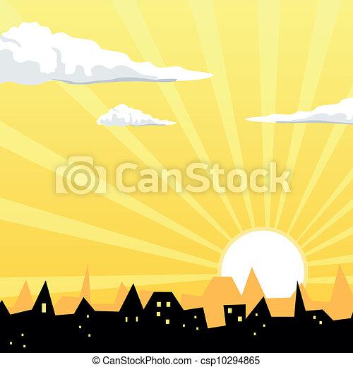 Vector Evening City - csp10294865