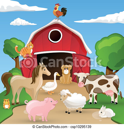 Vector Farm with Animals - csp10295139
